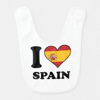 I Love Spain Spanish Flag Heart Bib
