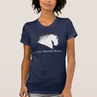 I Love Spanish horses Ladies Dark T-Shirt