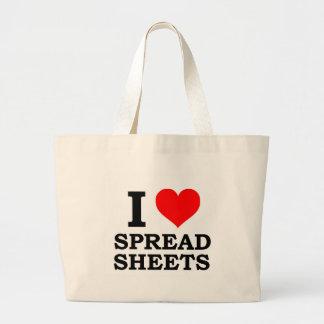 I Love Spreadsheets Jumbo Tote Bag