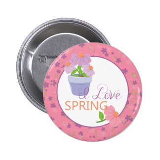I Love Spring Time Button