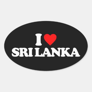 I LOVE SRI LANKA OVAL STICKER