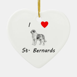I Love St. Bernards Ceramic Heart Decoration