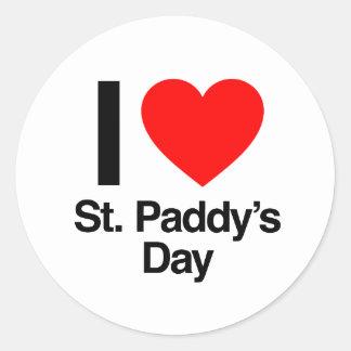 i love st paddy s day round sticker