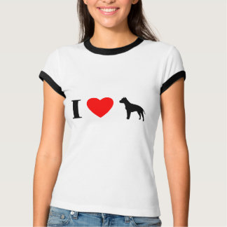 I Love Staffordshire Terriers Ladies Ringer TShirt