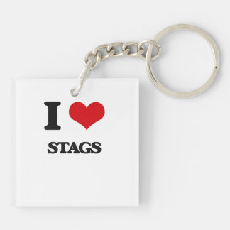 I love Stags Double-Sided Square Acrylic Key Ring