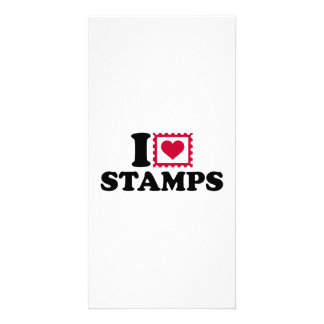 I love stamps customized photo card