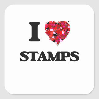 I Love Stamps Square Sticker