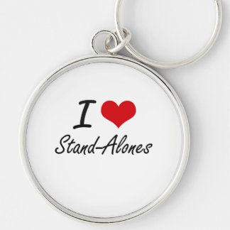 I love Stand-Alones Silver-Colored Round Key Ring