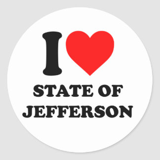 I love state of Jefferson Classic Round Sticker