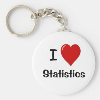 I Love Statistics - I Heart Statistics Basic Round Button Key Ring