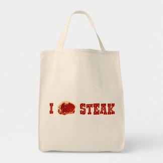 I Love Steak Grocery Tote Bag