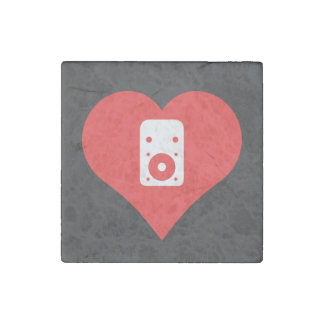 I Love Stereos Cool Symbol Stone Magnet