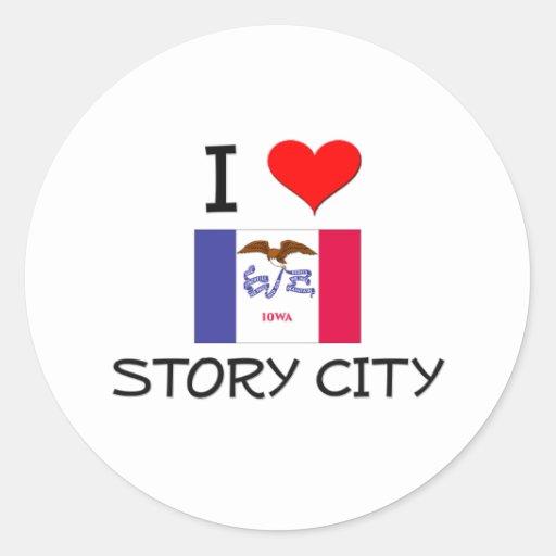 I Love STORY CITY Iowa Stickers