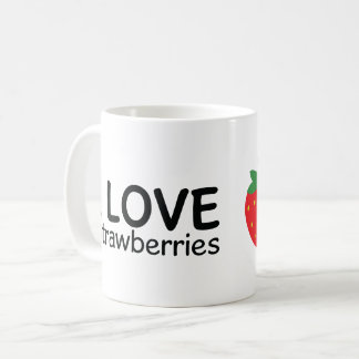 I Love Strawberries Illustration Coffee Mug