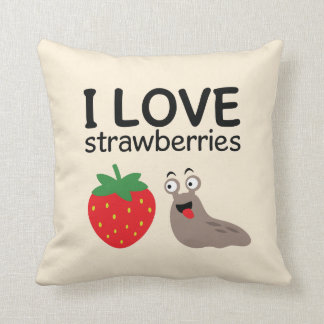 I Love Strawberries Illustration Cushion