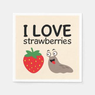 I Love Strawberries Illustration Disposable Napkins
