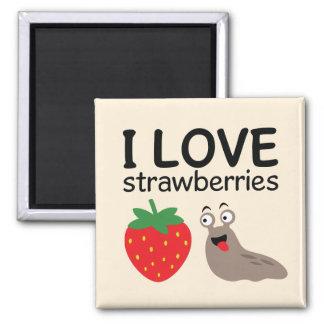 I Love Strawberries Illustration Magnet