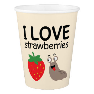 I Love Strawberries Illustration Paper Cup