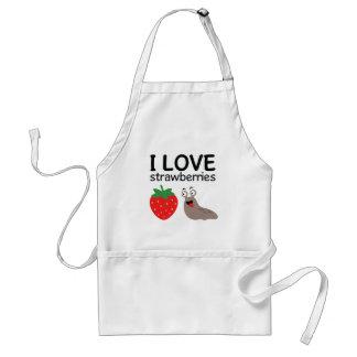 I Love Strawberries Illustration Standard Apron