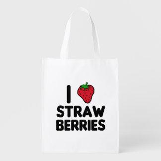 I Love Strawberries Reusable Grocery Bag
