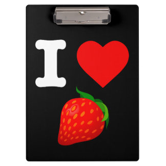 I Love Strawberry Fruits Nature Candy Vegan Berry Clipboard