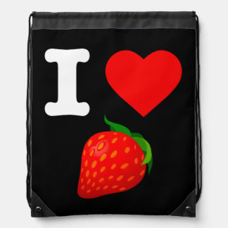 I Love Strawberry Fruits Nature Candy Vegan Berry Drawstring Bag