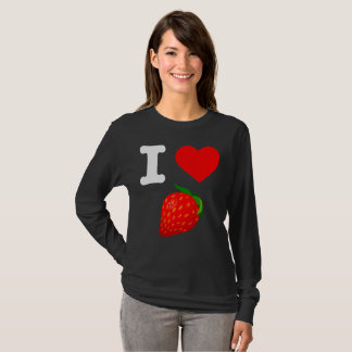 I Love Strawberry Fruits Nature Candy Vegan Berry T-Shirt