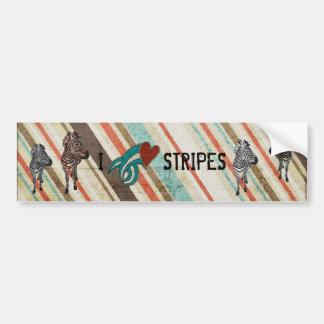 I LOVE STRIPES Zebra Bumper Sticker Car Bumper Sticker