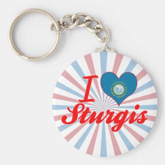 I Love Sturgis, South Dakota Basic Round Button Key Ring