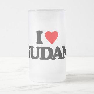 I LOVE SUDAN GLASS BEER MUGS