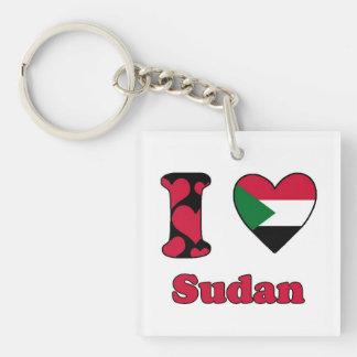 I love Sudan Single-Sided Square Acrylic Key Ring