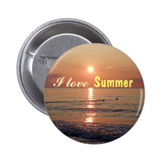 I love Summer! Sunset on the Beach Photo Buttons