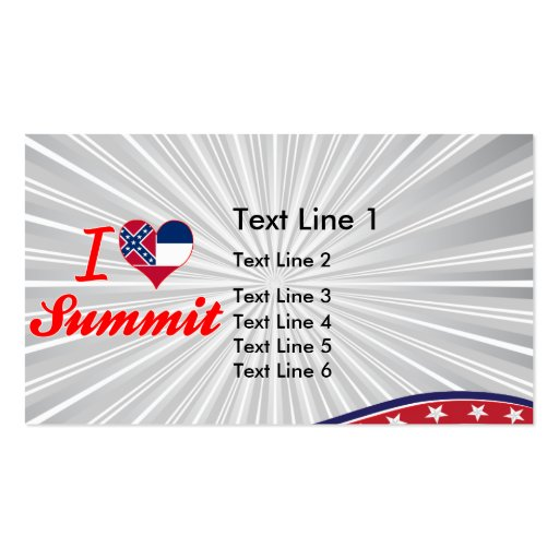 I Love Summit, Mississippi Business Card Templates