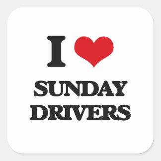I love Sunday Drivers Square Sticker