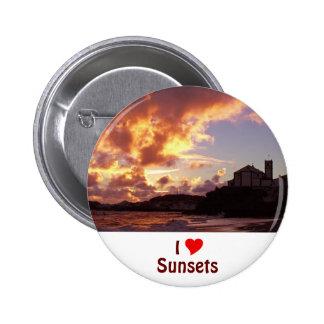 I Love Sunsets 6 Cm Round Badge