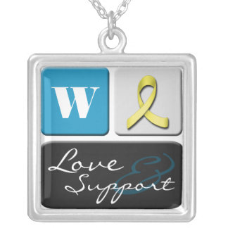 I Love & Support My Soldier Monogram Necklace
