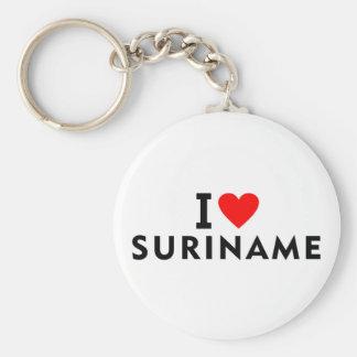 I love Suriname country like heart travel tourism Key Ring