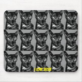 ~ I LOVE SUSIE ~ Black Oriental Cat ~ Mouse Pad