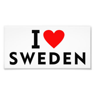 I love Sweden country like heart travel tourism Photo Print
