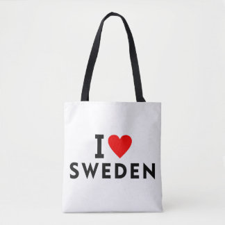 I love Sweden country like heart travel tourism Tote Bag