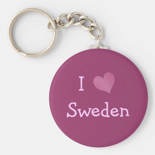 I Love Sweden Keychains