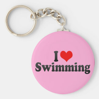 I Love Swimming Basic Round Button Key Ring