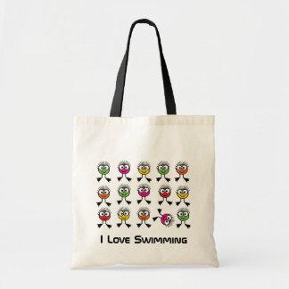I Love Swimming - Bright Swim Characters Budget Tote Bag