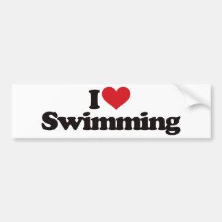 I Love Swimming Bumper Sticker