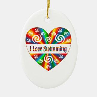 I Love Swimming Ceramic Oval Decoration