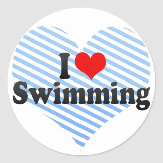 I Love Swimming Classic Round Sticker