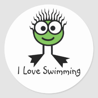 I Love Swimming - Green CharacterStickers Classic Round Sticker