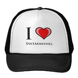 I Love Swimming Mesh Hat