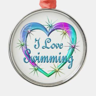 I Love Swimming Metal Ornament