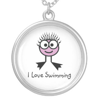 I Love Swimming - Pale Pink Swim Character Silver Plated Necklace